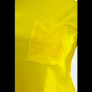 Hermes-yellow embroidered t- shirt size 38